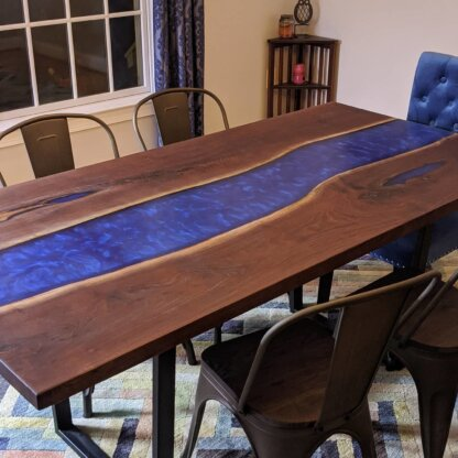 Black Walnut River Table with Epoxy