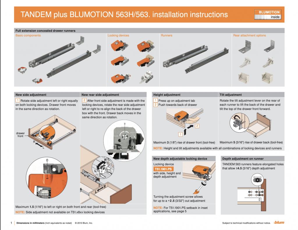 Blum TANDEM plus BLUMOTION 563H/563 Instructions